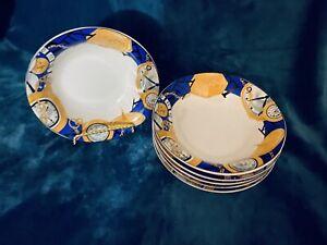 Set-Of-6-Vitromaster-FURIO-Time-Piece-Pattern-Soup-Bowls-7-1-4-CHINA-NEW