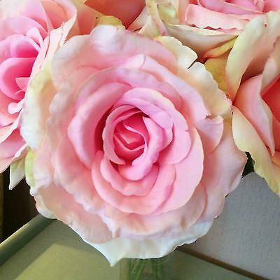 Single Vintage Pink Artificial English Rose, Individual Realistic Silk Flower