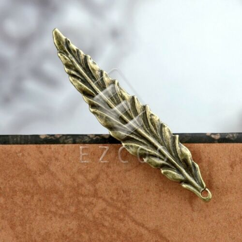 15pcs Antique Brass Pendant Charm Supplies Jewelry Making Leaf 55x11x2mm YB