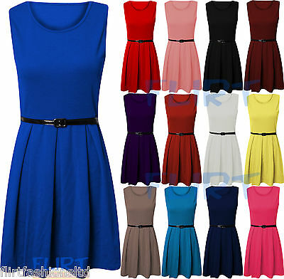 Womens Skater Dress Ladies Sleeve Less Tailored Short Party Sexy Belted Dresses