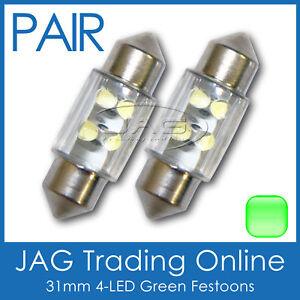 2 x 31mm 4-LED GREEN FESTOON INTERIOR LIGHT GLOBES/BULBS - Car/Boat/Caravan