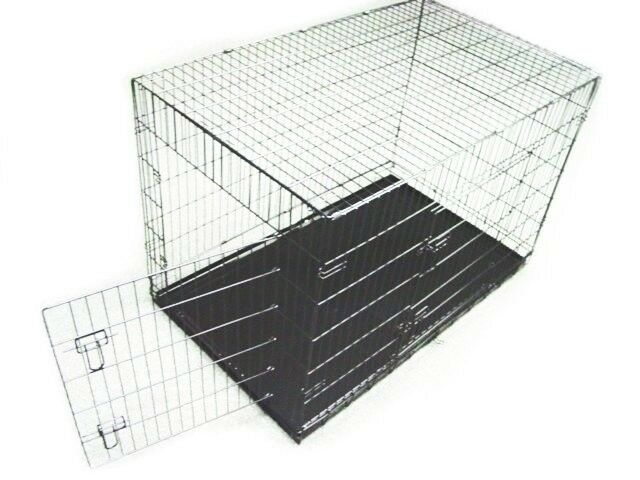 DOG CRATE 48x29x32 XLarge 2 Door Pet Kennel Cage Folding Portable Travel Metal