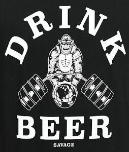 Beer Savage Gym Gorilla Body Builder Black Men S Large Shirt Drinking Ebay