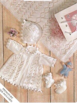 Baby Premmie Knitting Pattern Copy Jacket Bonnet Booties Blanket In