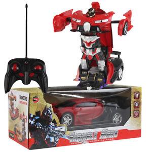 Transformer Rc Robot Déformation Voiture Un Clé Jouet À Sur Télécommande 18 Détails Rouge 1 4jL5AR3