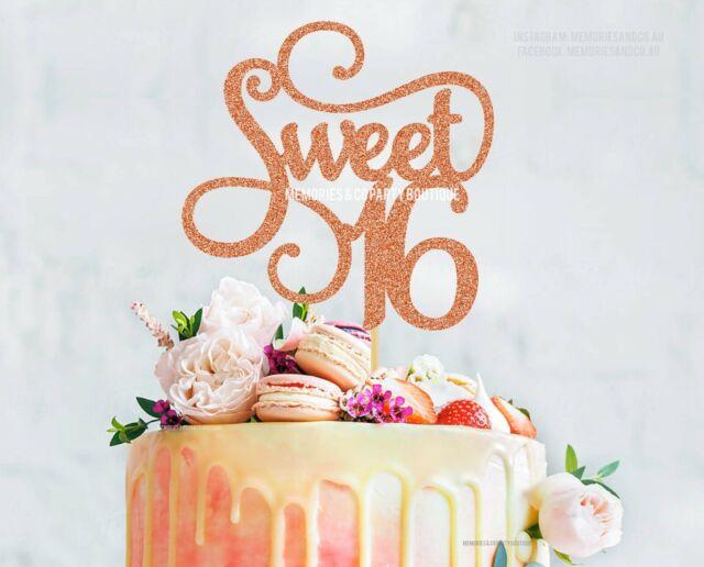 Remarkable Sweet Sixteen Cake Topper Rose Gold Glitter 16Th Birthday Topper Funny Birthday Cards Online Barepcheapnameinfo