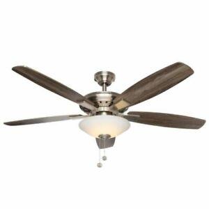 Hampton Bay Ceiling Fan 52 In Brushed Nickel Light Kit Led Indoor