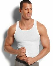 $60 HANES Mens 4 PACK Sleeveless TANK TOP SHIRT White Cotton Ribbed UNDERSHIRT L