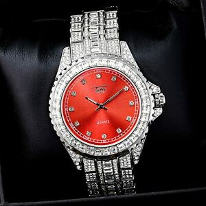 Fully Iced Watch Bling Rapper Lab Simulate Diamond Silver Red Metal Band Luxury