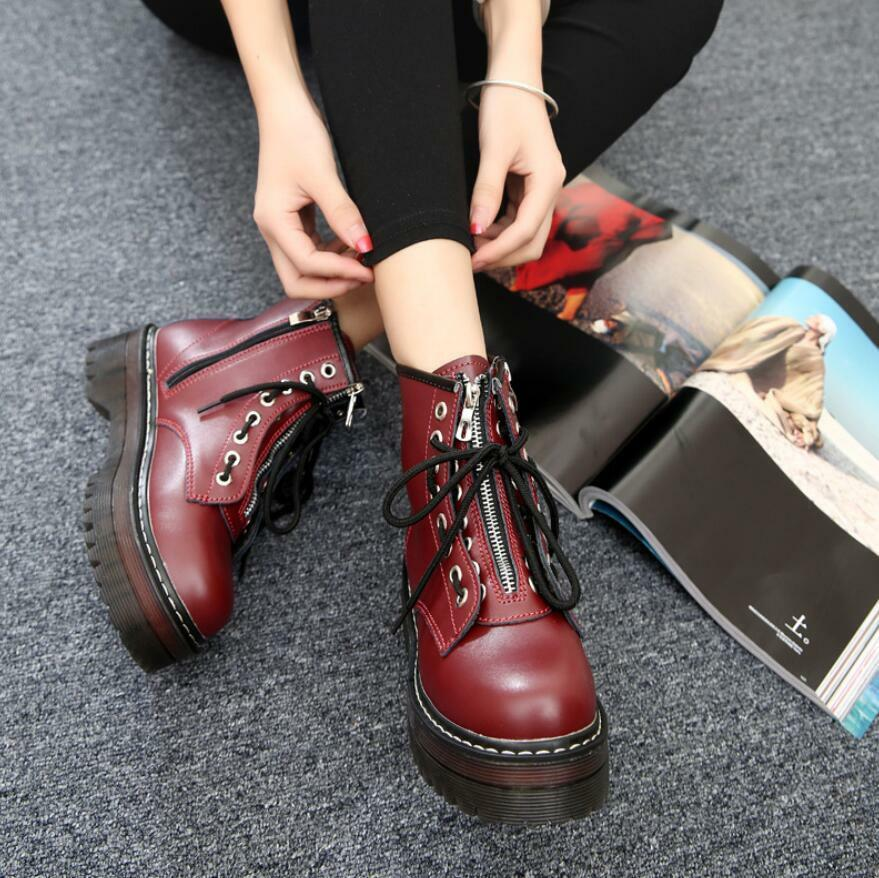 Womens Zip Creepers Chunky Platform Goth Punk Military Biker Ankle Boots shoes