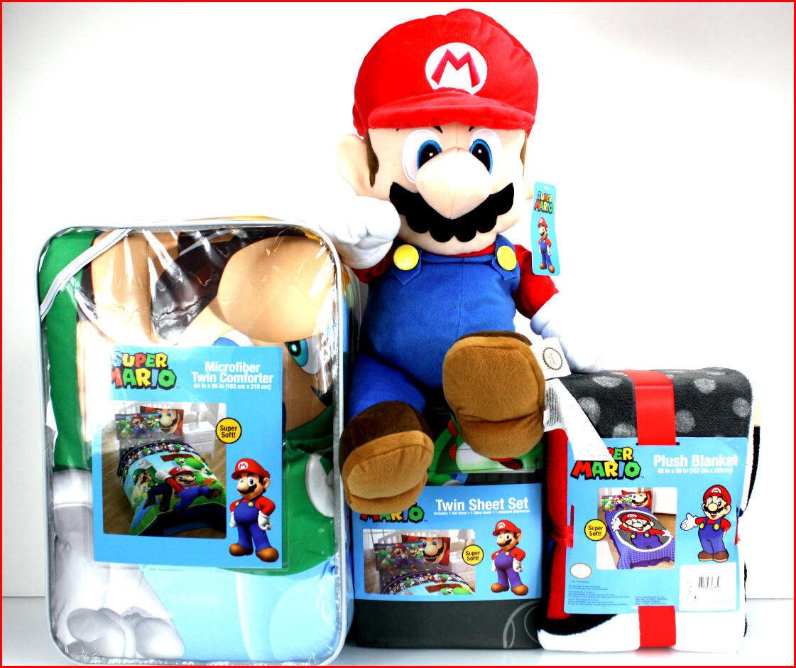 4 6 pcs-Super Mario Réversible Couette + Drap Set + Couverture + Peluche Mario