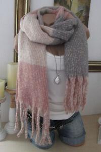 estilos de moda nueva llegada diseño popular Detalles de Nuevo XXL Winter Pañuelo Bufanda Flecos Estola Melliert  Rosa-Gris Rayas Anchas