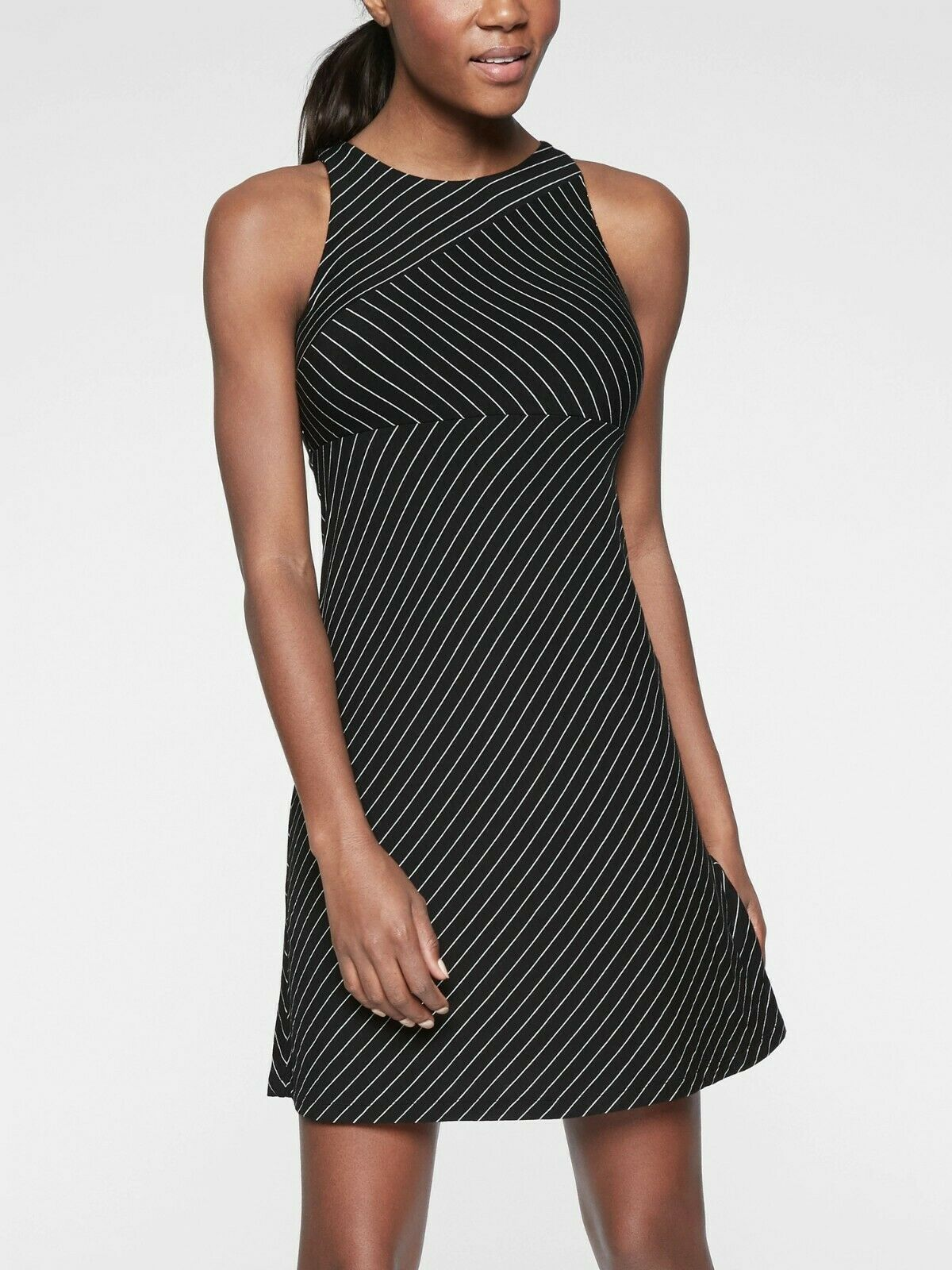Athleta Santorini High Neck Mix Stripe Dress,Go Stripe schwarz C Größe L