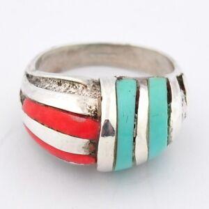 Sterling Silver Enamel Art Deco Ring