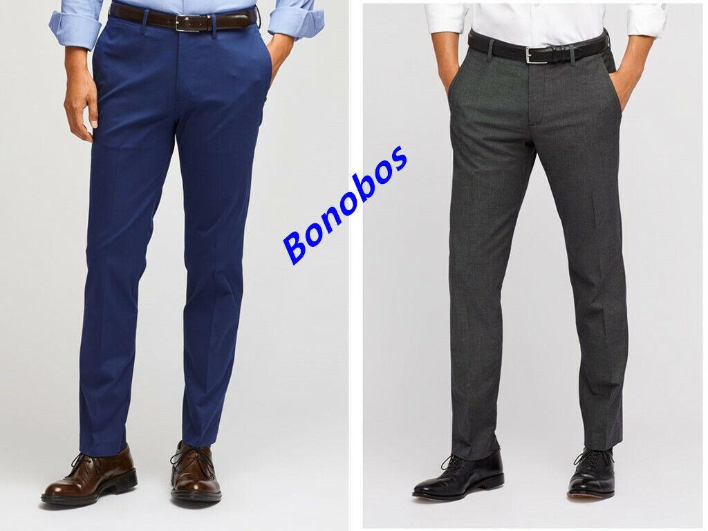 Bonobos Men's Tailored Slim Straight Athletic Dress Pants Size 32,33,34,35  Ba