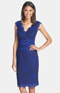 Image Is Loading Tadashi Shoji Embroidered Lace Sheath Dress Blue Wedding