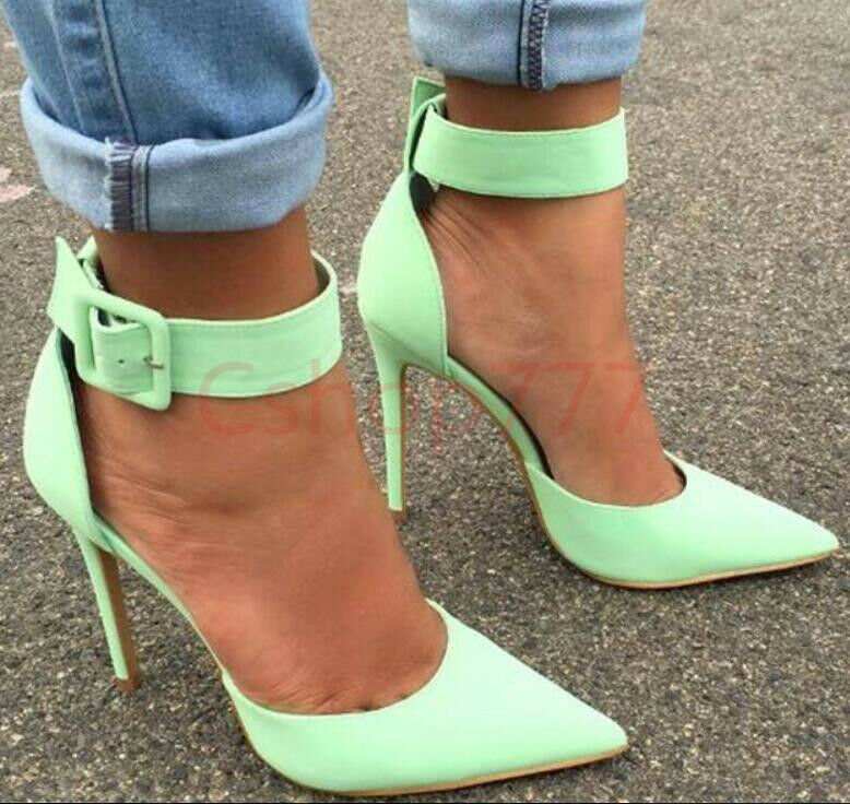 Womens Sexy Stiletto Heel Summer Ankle Strap Pointed Toe Occident Plus Size New