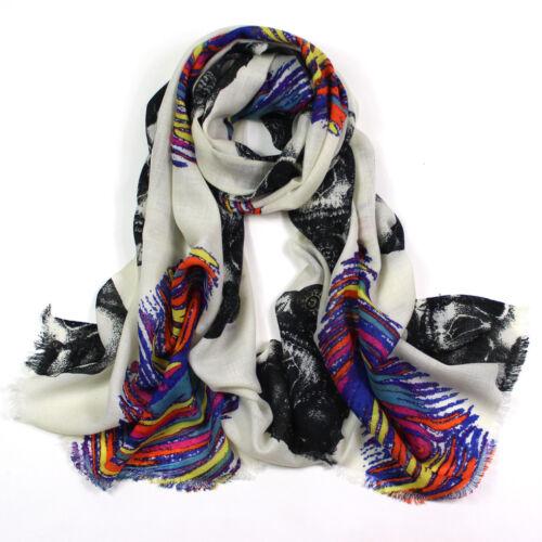 100/% Pure Wool Woman/'s Pashmina Scarf Soft Wrap memory print white black purple