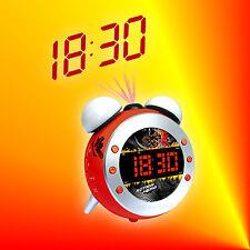 Soundmaster UR140 Rot Kids Radiowecker Uhrenradio mit Projektion, Dimmer & Licht
