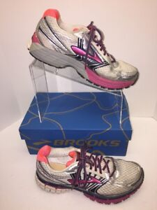 44f34580fe7a5 Brooks Adrenaline GTS 14 Womens Sz 10 Sneakers White  Pink Running ...