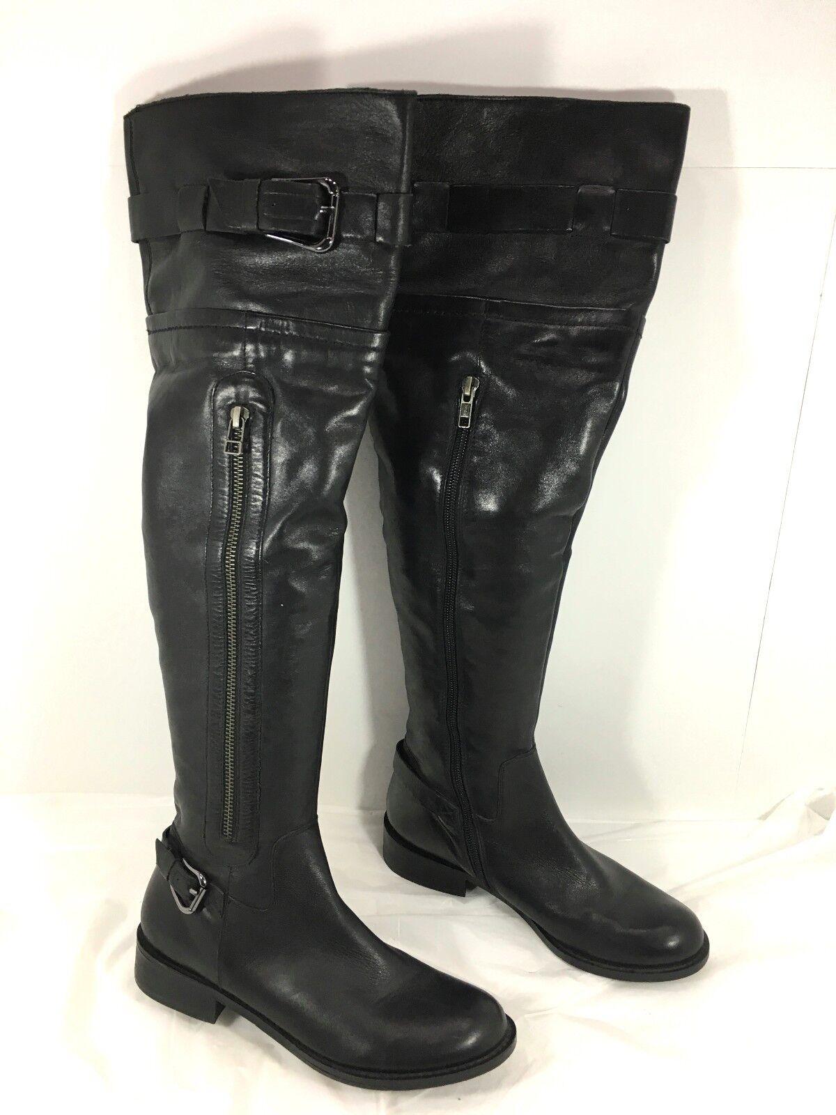 miglior prezzo Steven Steve Madden Sabra Sabra Sabra Belted & Zippers Over the Knee High stivali nero Sz 6  godendo i tuoi acquisti