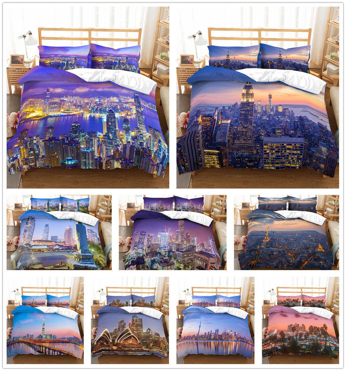 3D City View Duvet Cover Comforter Cover Bedding Set Pillowcase Quilt Cover Set