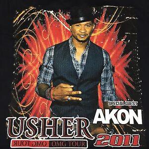 Usher 2011 OMG Tour Black Small 2-sided T-Shirt Akon Rap Hip Hop R&B Soul Rock