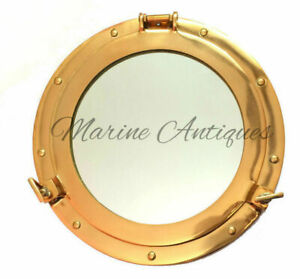 12-034-Maritime-Brass-Porthole-Round-Window-Glass-Nautical-Boat-Ship-Porth-Mirror