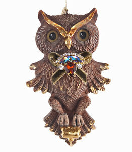 28 628189 Katherines Collection Brown Owl Jewel Wings Open Ornament