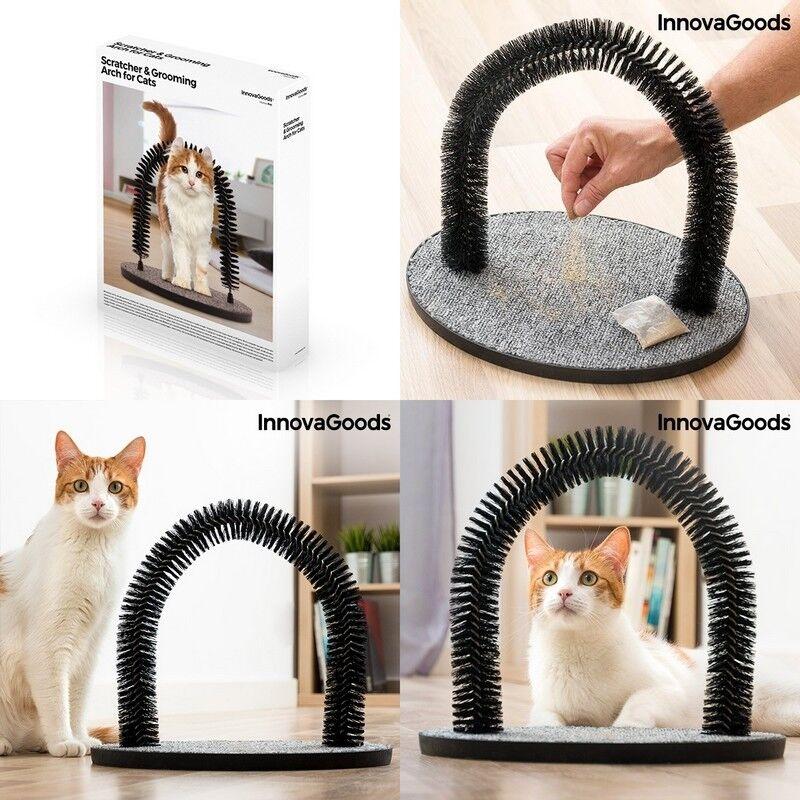 Rascador para gatos con arco masajeador 36x34x28 cm, bolsa con hierba gatera