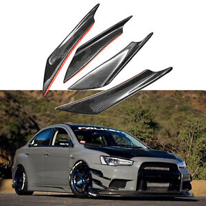 4PCS-Black-Carbon-Fiber-Front-Bumper-Fin-Canards-Splitters-Body-Spoiler-Trim