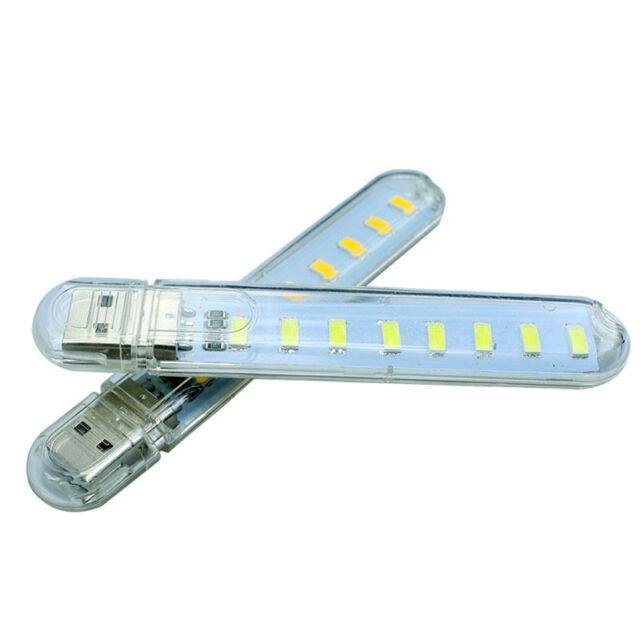Portable Bright 8 SMD LED White Night Light USB Reading Bulb Laptop Desk Lamp