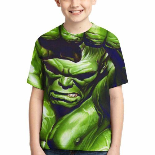 The Incredible Hulk Marvel Iron Man Superhero Kids Short Sleeve T-Shirts Tops