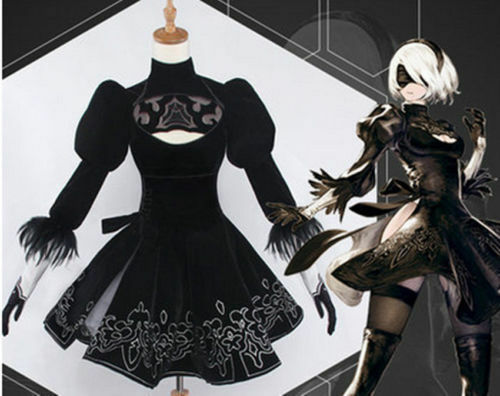 Hot Anime NieR:Automata 2b Uniforms Black Dress Cosplay:LUY13