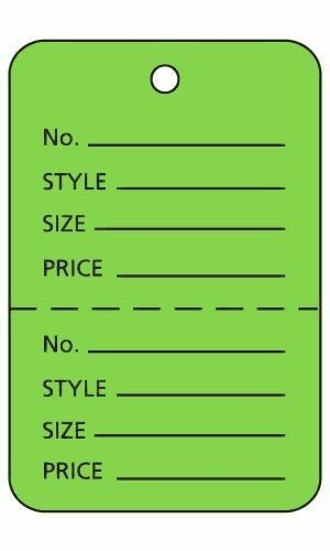 """Tags Retail Price Sale Perforated 1 ¾/"""" W x 2 ⅞"""" H Two Part Green 1000 Unstrung"""