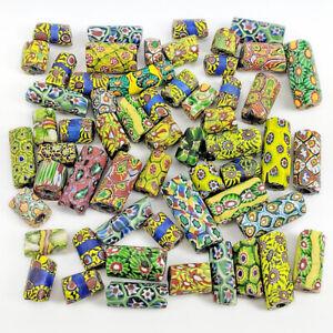 56-Antique-Millefiori-Venetian-Glass-African-Trade-Beads-Watermelon-Mosaic