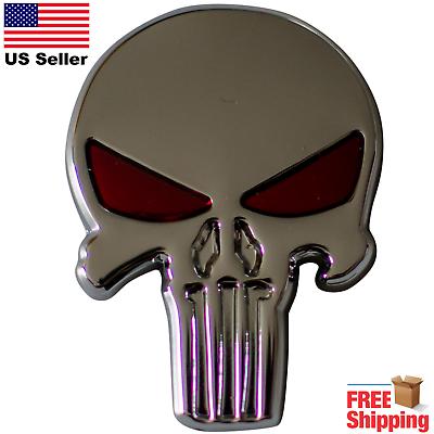3d Pegatina Calavera Placa Metal Punisher Emblema Calcomanía Para Auto Moto Camión Ebay