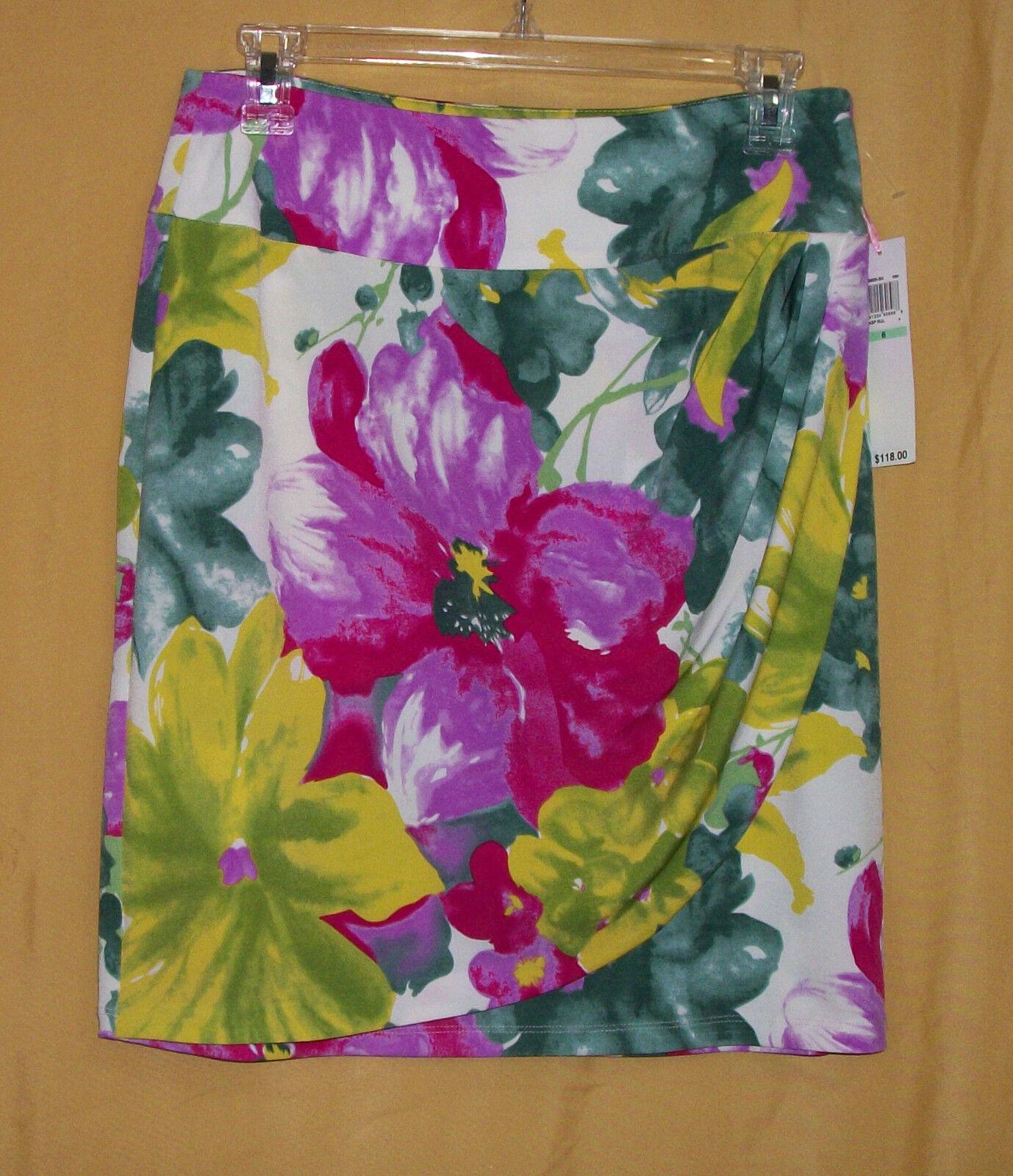 Kelly & Diane women's purple green yellow multi floral wrap stretch skirt 8  118