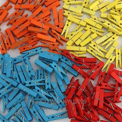 Wholesale 100pcs Wooden Clothespins Wood Clothes Pins Spring Clamp Hook
