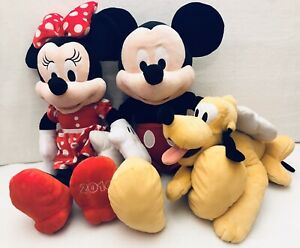 Disney-Plush-Lot-of-3-Mickey-Minnie-Mouse-amp-Pluto-24-And-Under