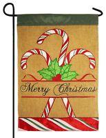 Burlap Merry Christmas Candy Canes Double Applique Garden Flag