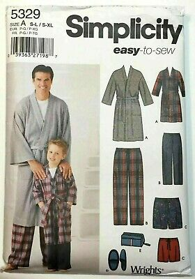 SIMPLICITY 5329 MEN/'S BOYS PANTS SHORT ROBE SLIPPERS BAG Sew Pattern S-L//S-XL UC