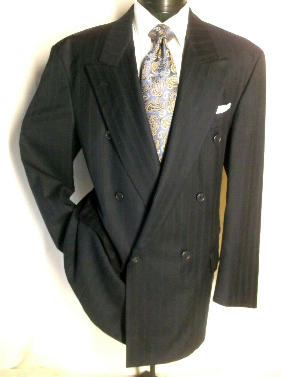 Hugo Boss Navy bluee Striped Double Breasted 2PC Suit 43 L Made in Germany