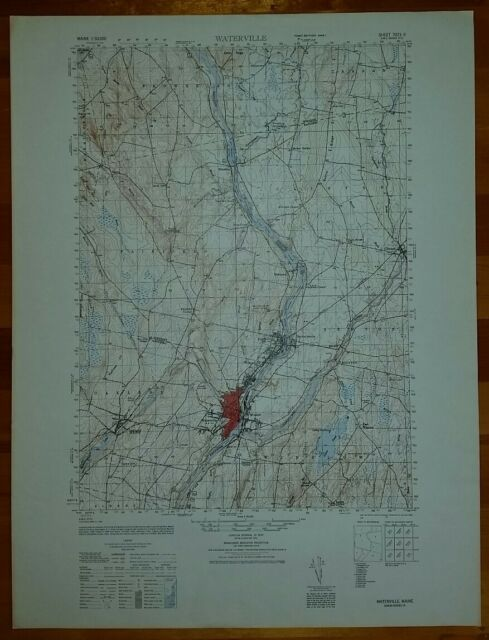 1940 S Army Like Usgs Topographic Map Waterville Maine Sheet 7073