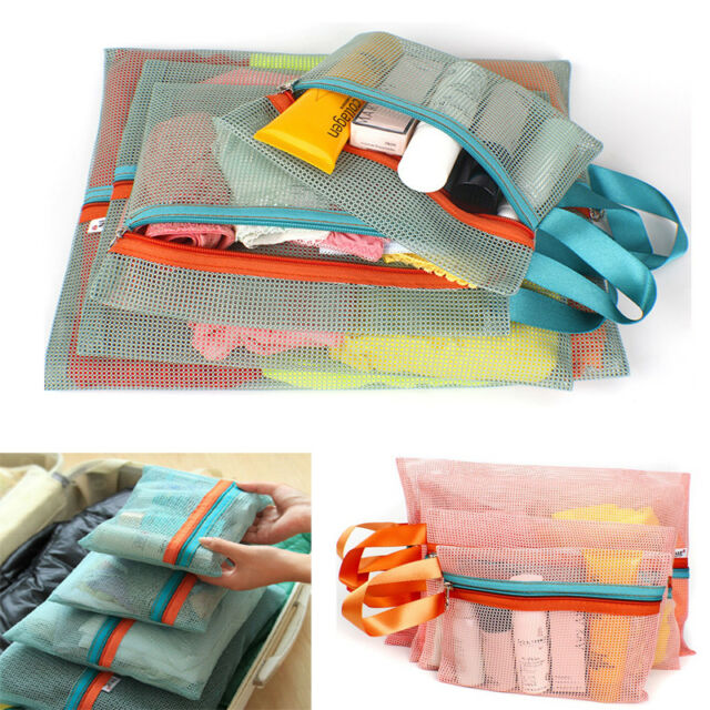 4Pcs Travel Mesh Square Storage Bag Case Cosmetic Clothes Underwear Organizer