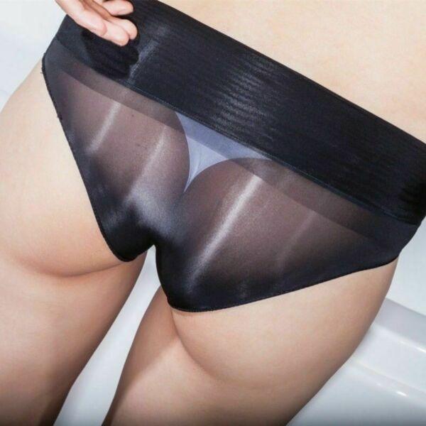 Damen Schier Herren Unterhose Durchsichtig Geölt Glänzend Slip Unterwäsche