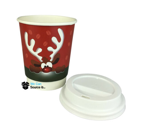 Insulated Double Walled Disposable Paper Coffee Cups Christmas Coffee Cups