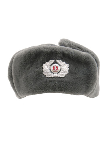 Genuine East German Army NVA Grey Fur Winter Soldier Trapper Hat with Cockade