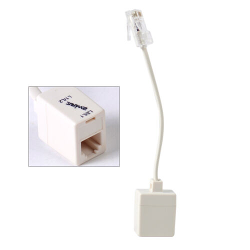 New White Telephone RJ11 6P4C Female To Ethernet RJ45 8P8C Male Plug F//M Adapter