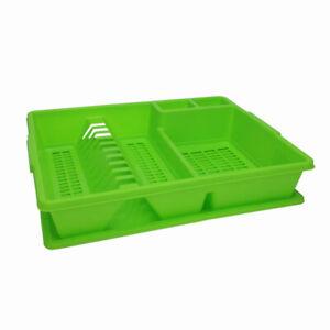 Sechoir-a-Vaisselle-Cuisine-en-Plastique-avec-Plateau-d-039-egouttage-Vert-Egouttoir